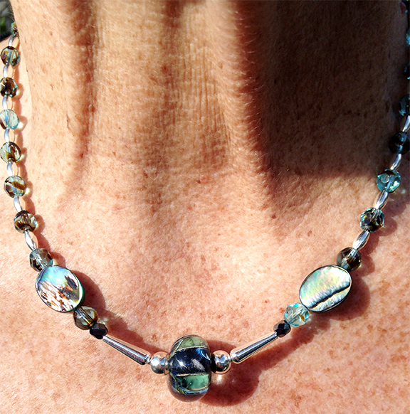 Lampwork bead, Yurok, Native American, Necklace