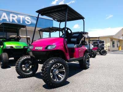 raspberry pink txt custom ezgo golf cart