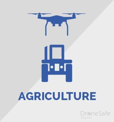 An image of a drone over a tractor with the word agriculture underneath