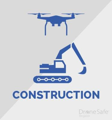 An image of a drone over a mechanical digger, with the word construction written under the image