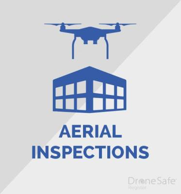 An image of a drone over a building, with the words aerial inspection written underneath