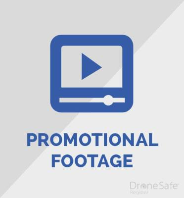 An image denoting a video recording with the words promotional footage underneath