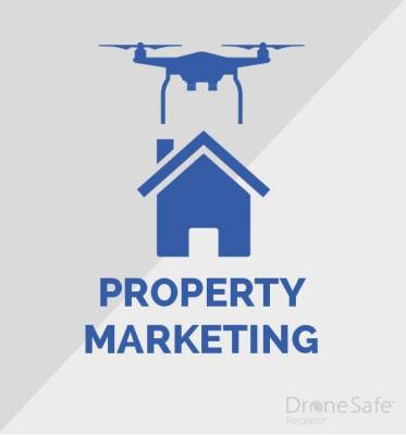 An image of a drone over a house with the words property marketing written under the image