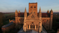St Albans Abbey, Sumpter Yard end. An aerial shot taken using a drone