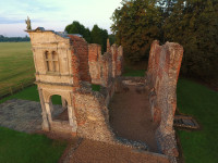 A photo taken by a drone of Old Gorehambury House, looking down on the property from about 10 metres up