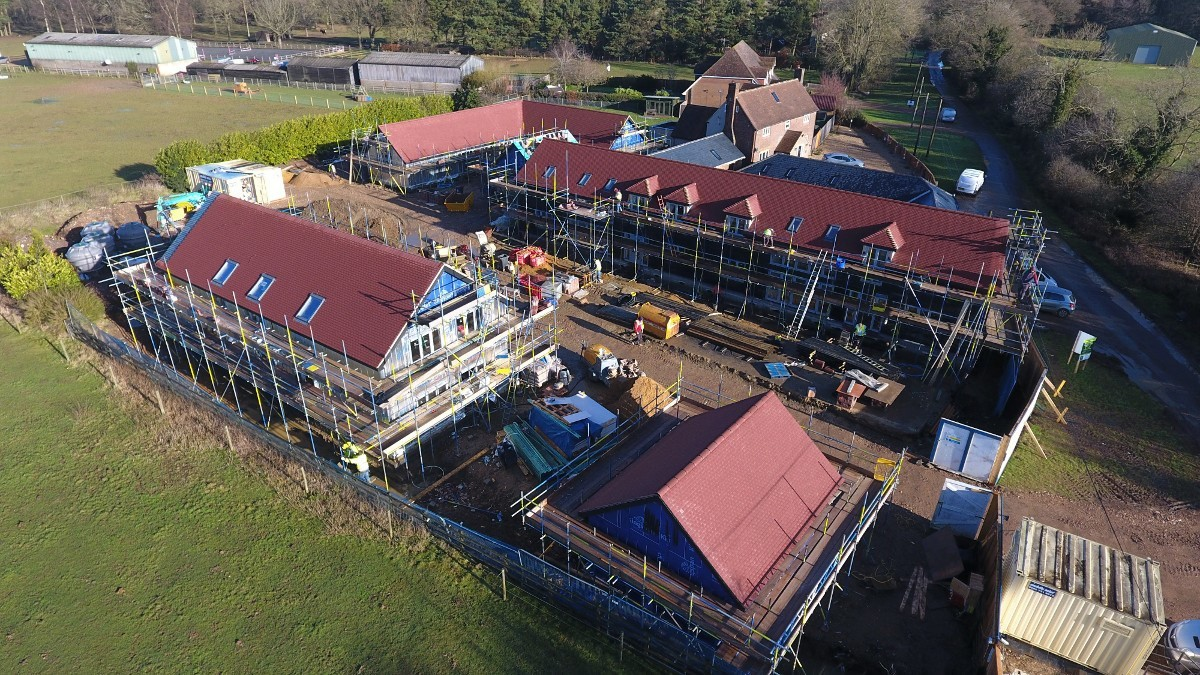 Aerial photograph of a building site during construction, taken using a drone