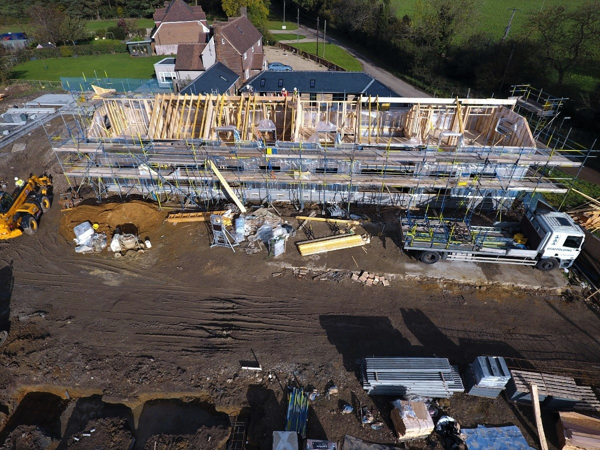 Aerial photo of a building site, taken using a drone