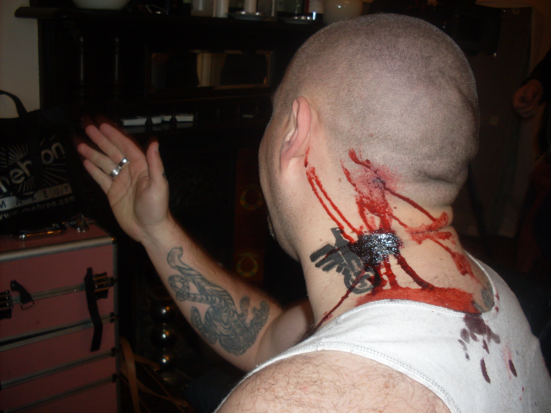 gunshot blood wound special effects (SFX) makeup Ann-Marina Perth