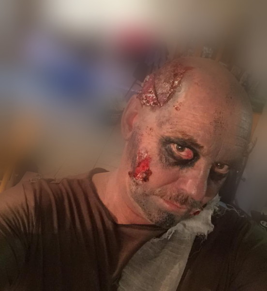 man with zombie makeup
