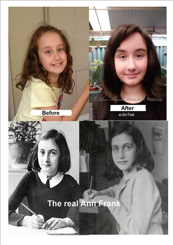 young woman before and after makeup application portraying Ann Frank