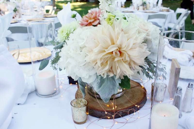 Dhalia and Rose Centerpiece