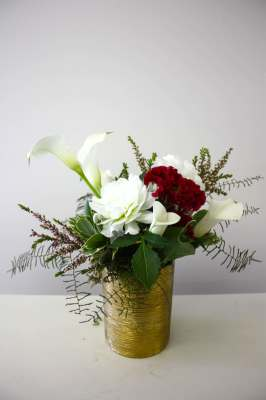 Gold Etched Vase with White Florals