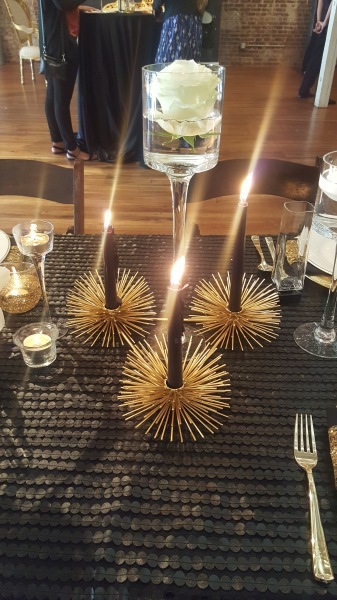 gold; black; leather, upscale, trendy, wedding reception
