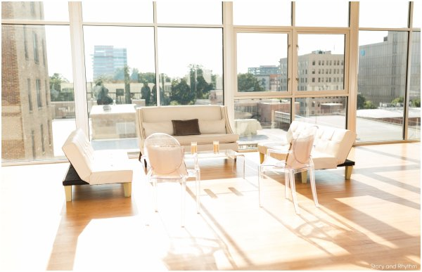 Gold and White; Lounge; Elegant; Downtown Raleigh
