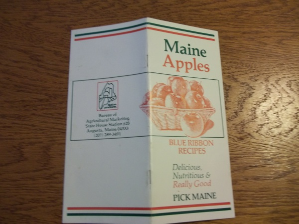 Historic recipe pamphlet in Wiscasset Wood's library