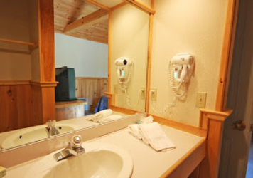 Private bathroom in our bicycle friendly hotel rooms at our inn in Maine