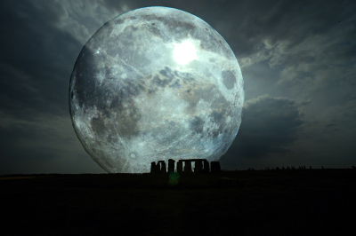 Blue Moon sitting on ancient Druid holy place, Stonehenge
