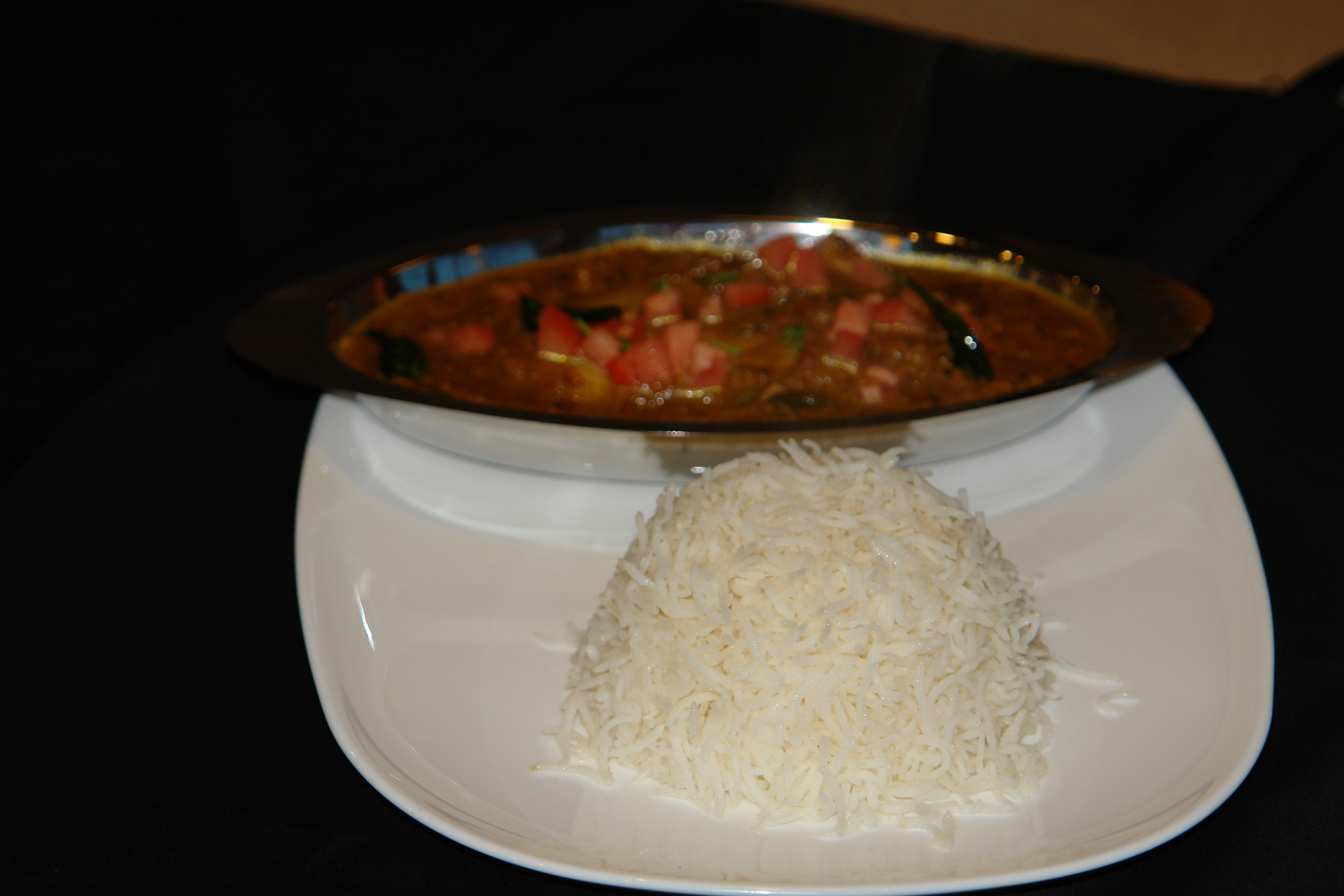 Chicken Pepper Chukka with rice