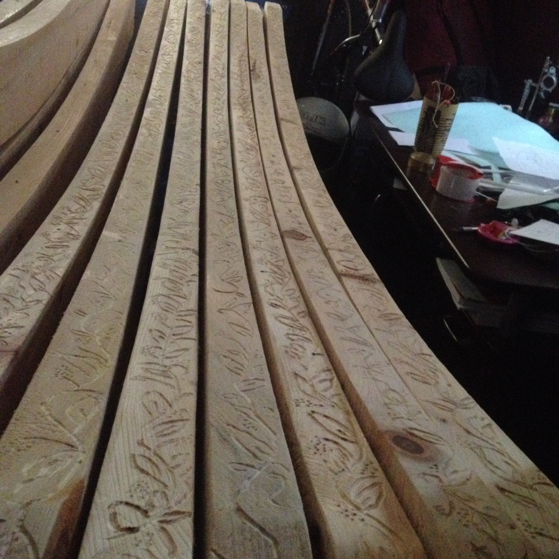 Carving the Cypress Rafters