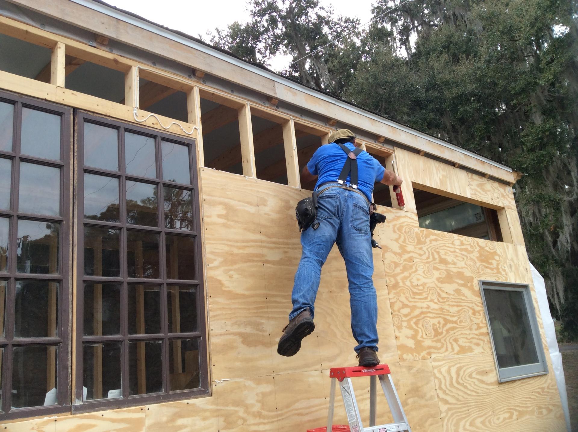 Adding plywood