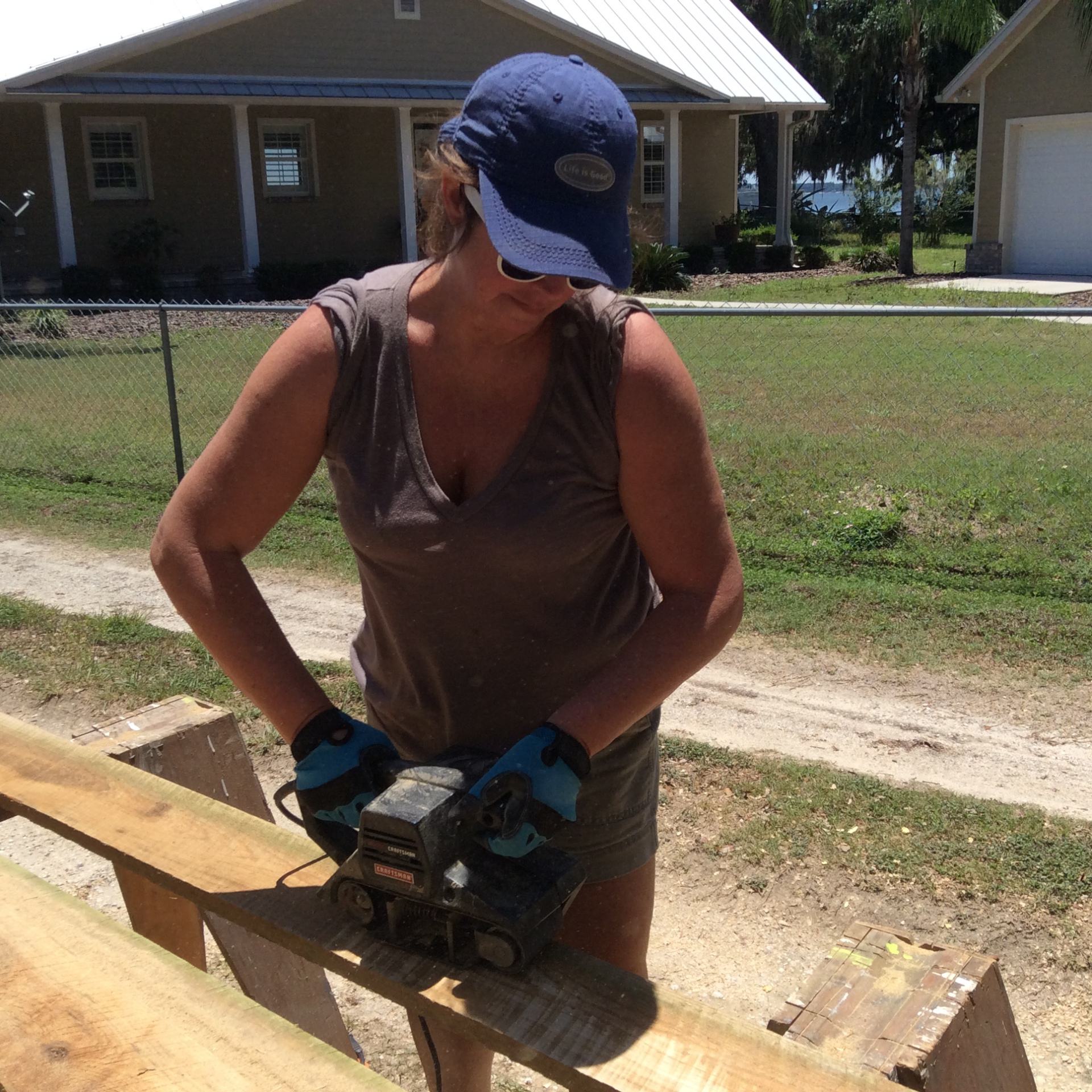 Sanding cypress rafters