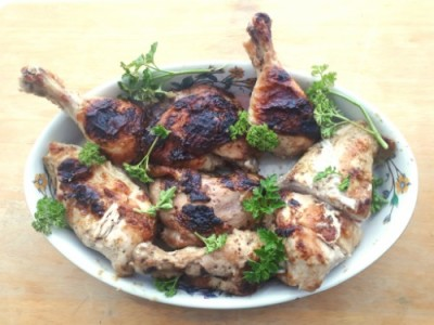 Broiled free-range lemon chicken