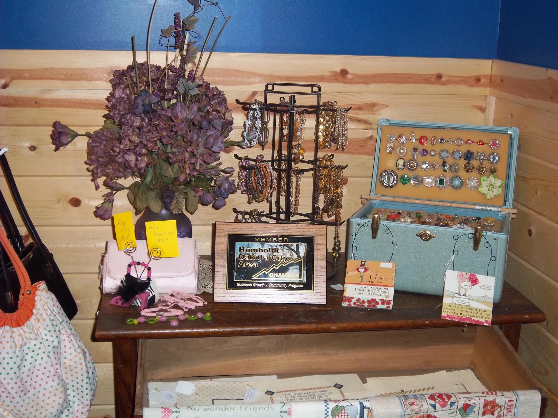 Rings $6 --- Bracelets $7 --- Purple Flower Arrangement $20