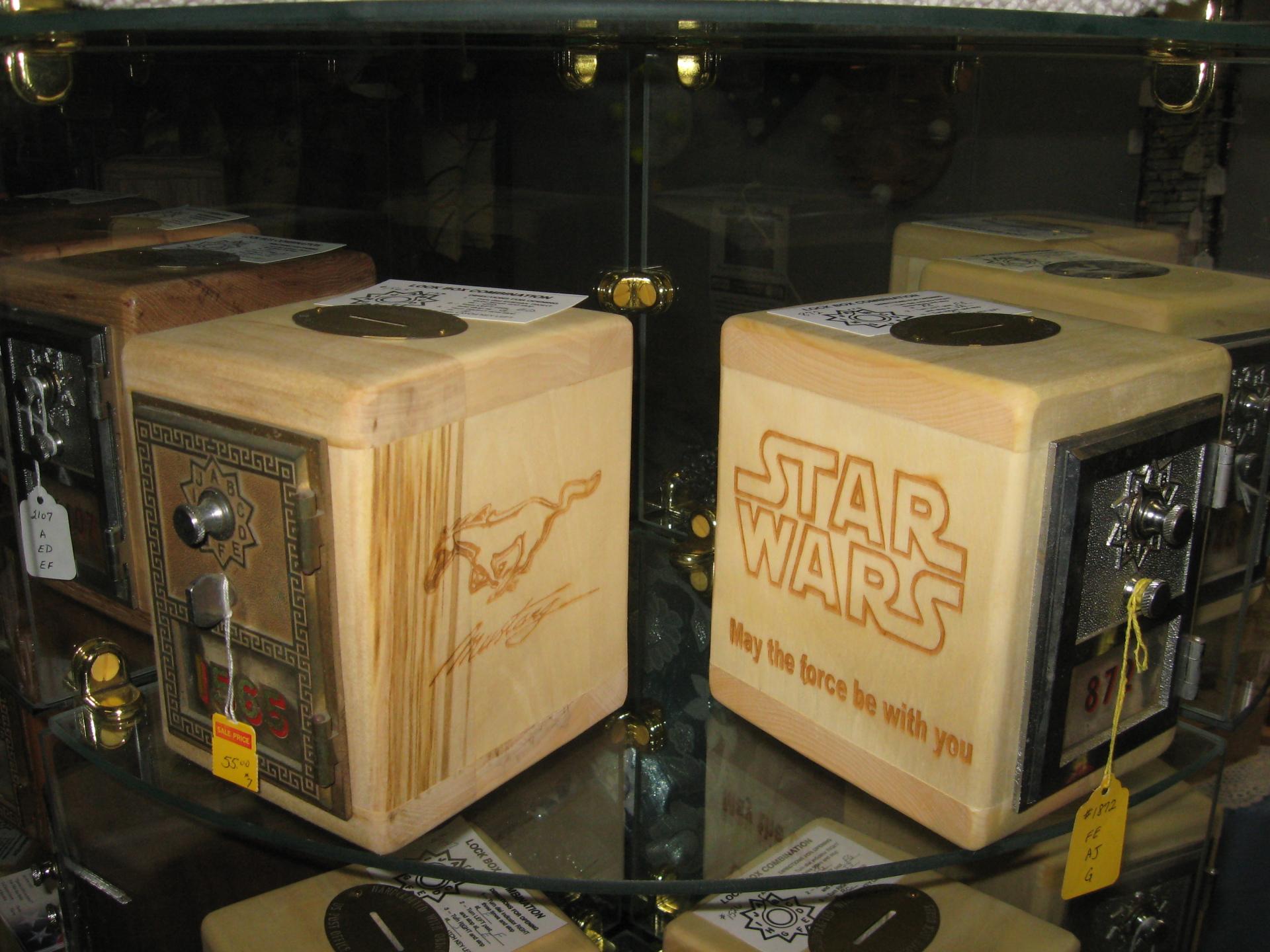 Laser Engraved Aspen Wooden Banks $55/Each