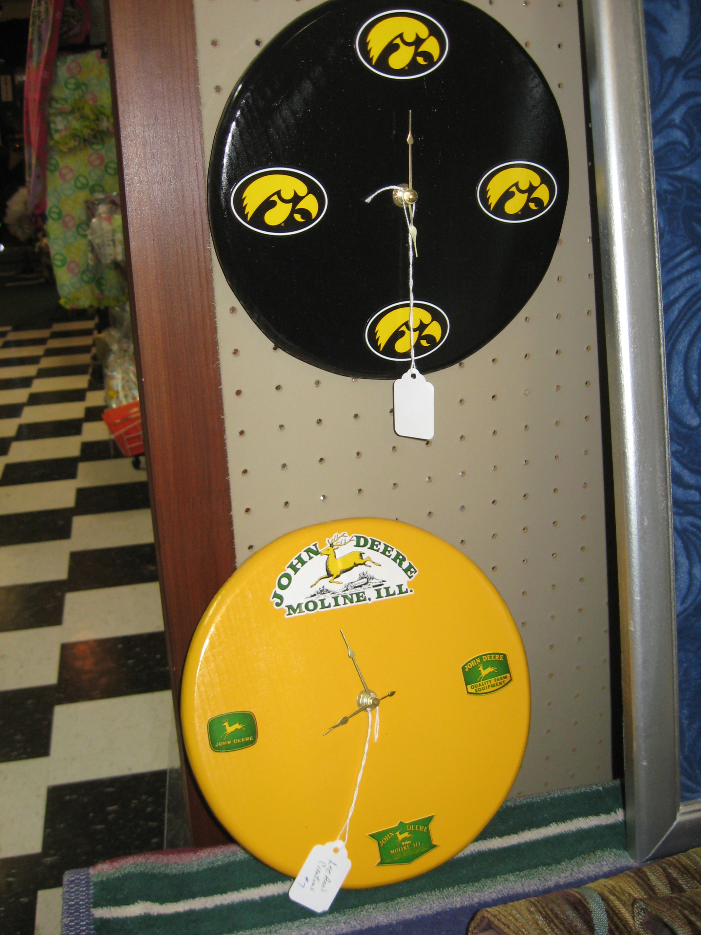 Wooden Painted Clocks with Decals $20