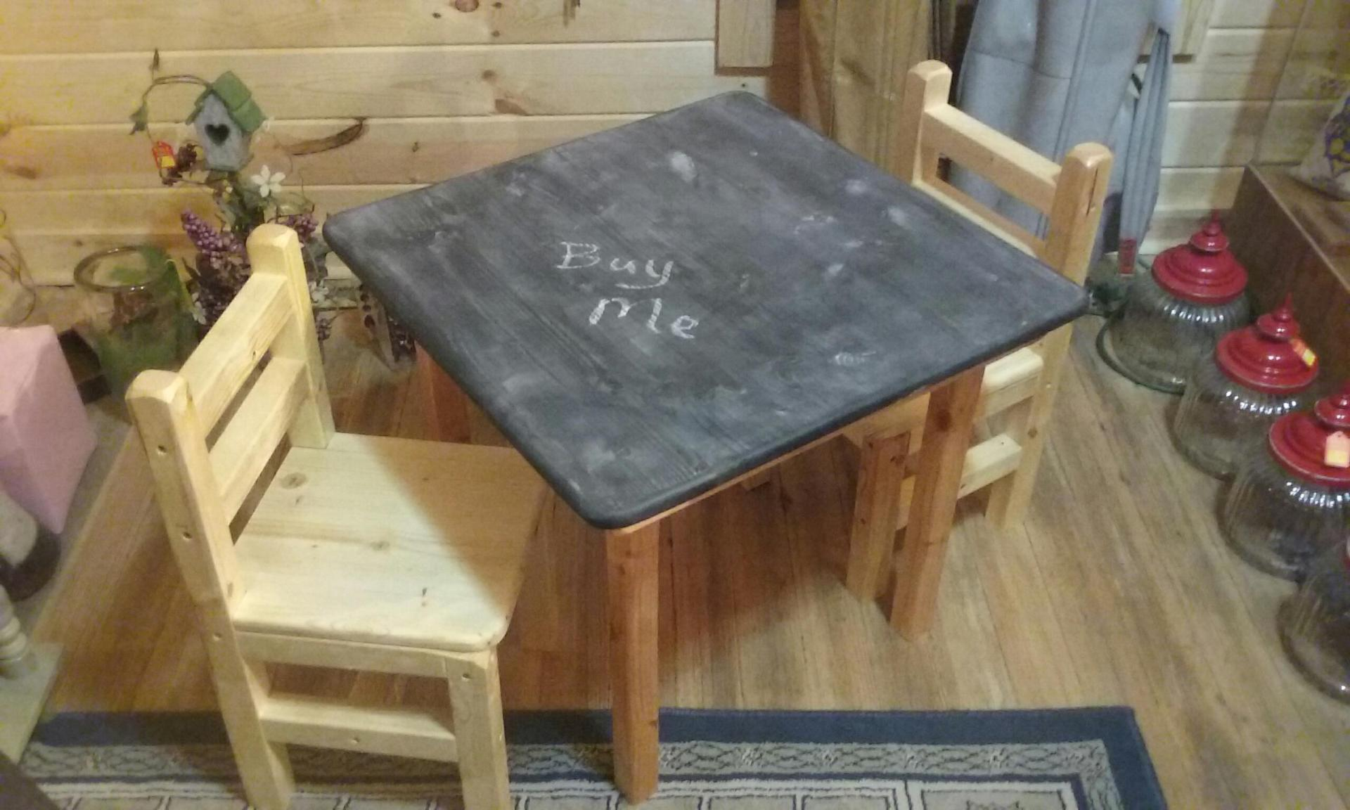 "Little table and Chairs ""Chalkboard Top"" $110"
