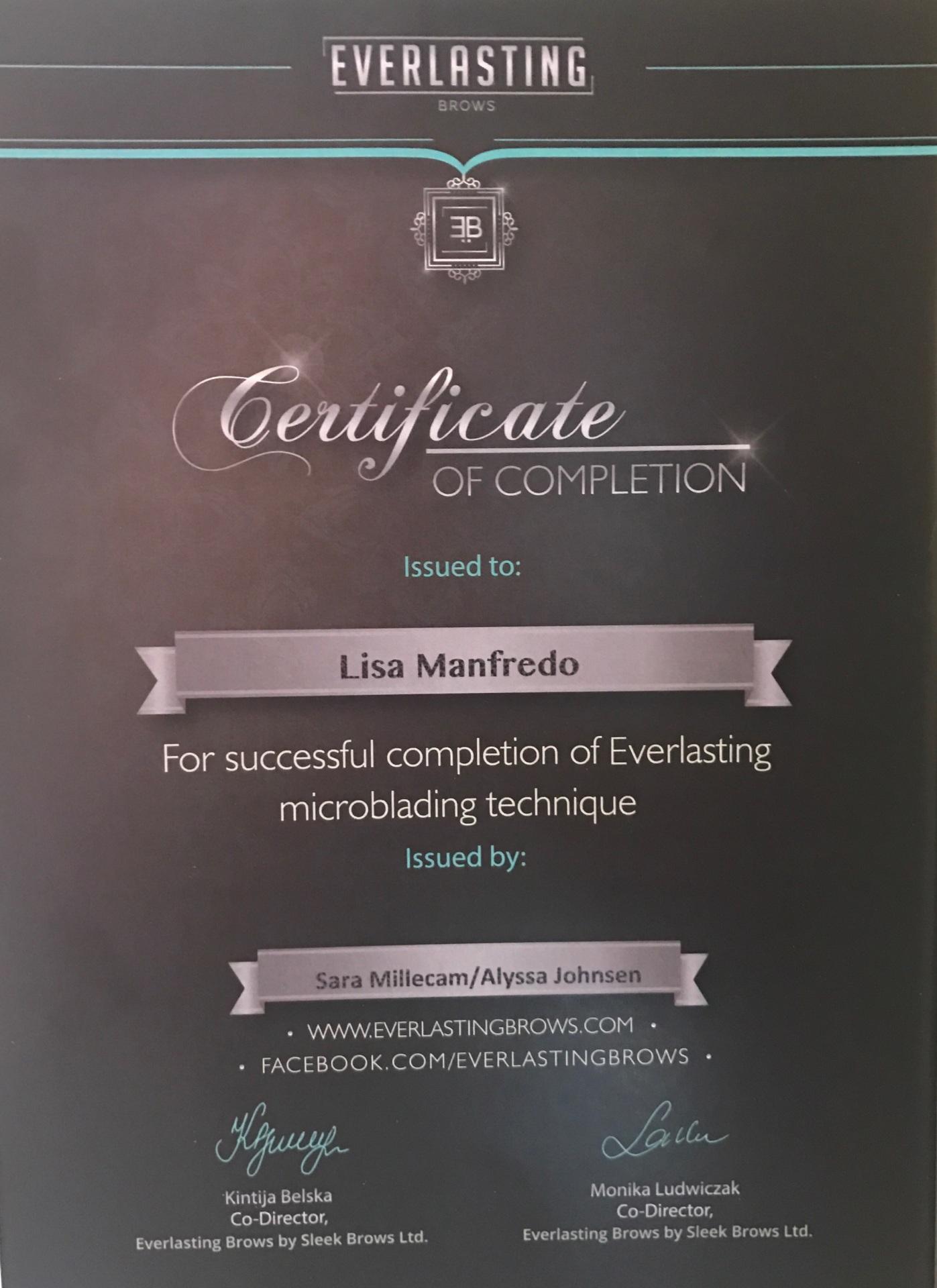 Advanced Certification, eyebrow microblading