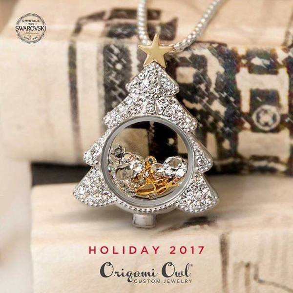 Christmas Tree Locket with Swarovski Crystals