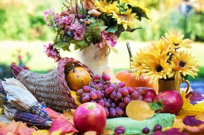 Picture of cornucopia, fruit, flowers and dried corn to represent Thanksgiving and the fall harvest