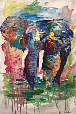 elephant - 24 x 36 - oil - COMMISSIONED