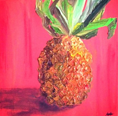 pineapple- 12 x 12 - oil - SOLD