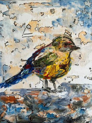 songbird - 8 x 10 - oil/mixed media - SOLD