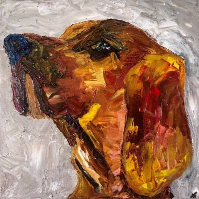 red blooded coon hound [ii] -10 x 10 - oil - COMMISSIONED