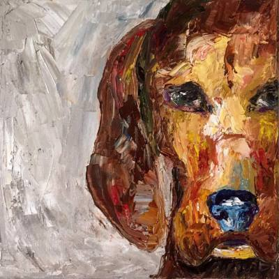 red blooded coon hound [i] - 10 x 10 - oil - COMMISSIONED