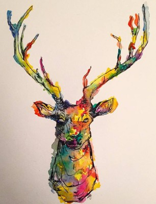 blitzen - 9 x 12 - watercolor/ink - SOLD