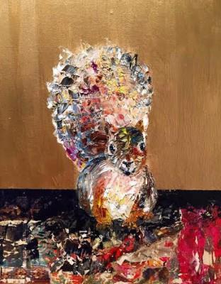 mister confetti - 11 x 14 - oil /mixed media- SOLD
