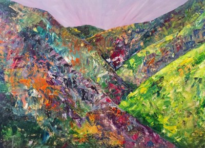 death valley superbloom  -  40 x 30 - oil/mixed media- $795