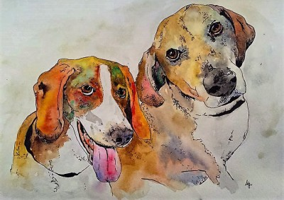 pup party -12 x 9 watercolor/ink - COMMISSIONED