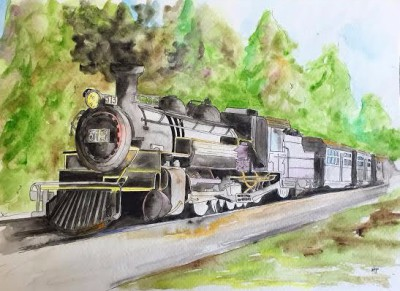 choochoo -14 x 11 watercolor/ink - COMMISSIONED