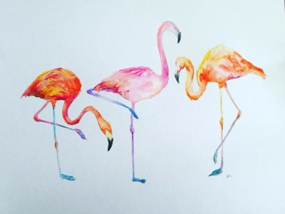 birds of a feather - 14 x 11 - watercolor/watercolor pastel - SOLD