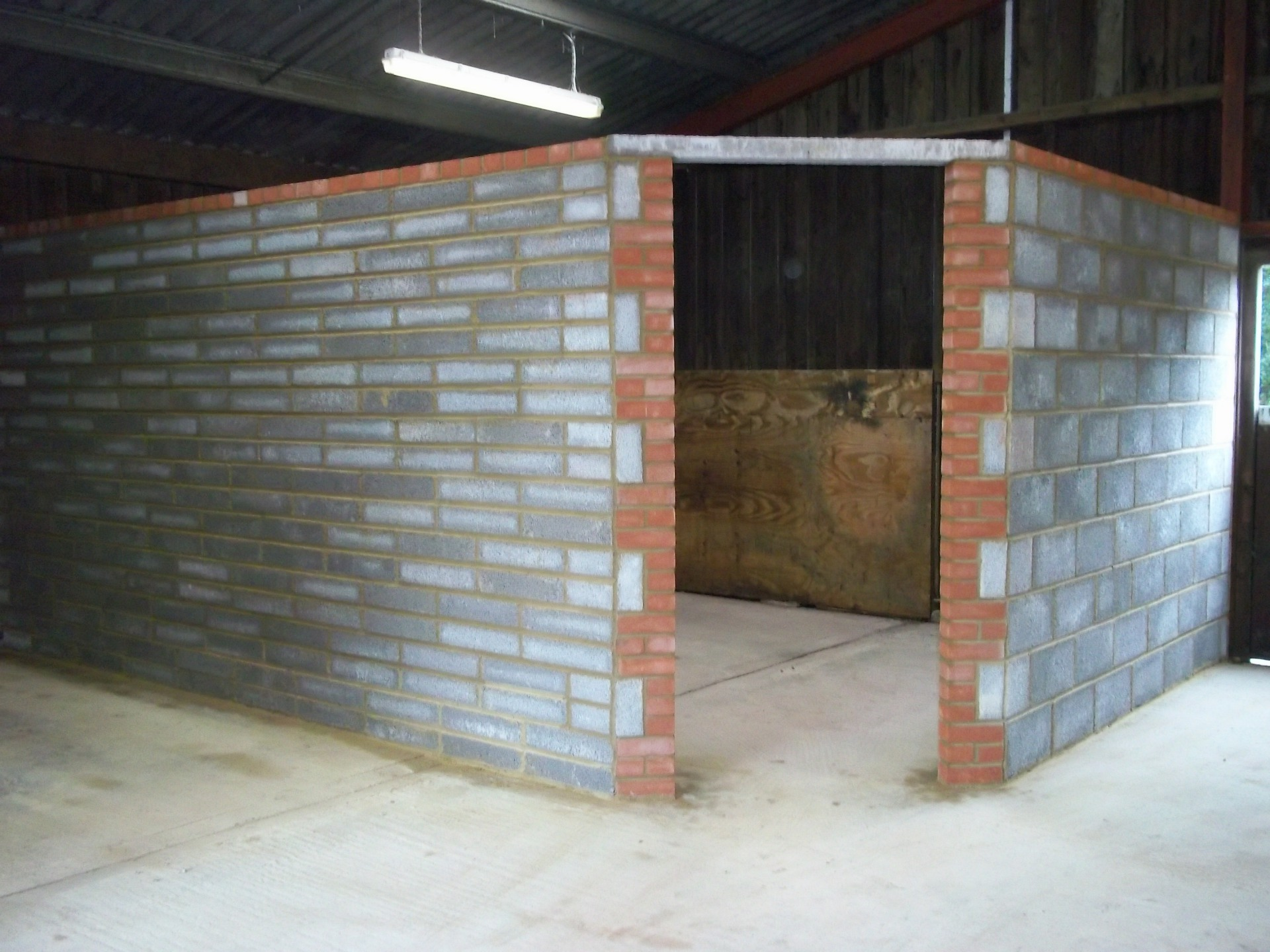 Concrete blocks built for tack room.