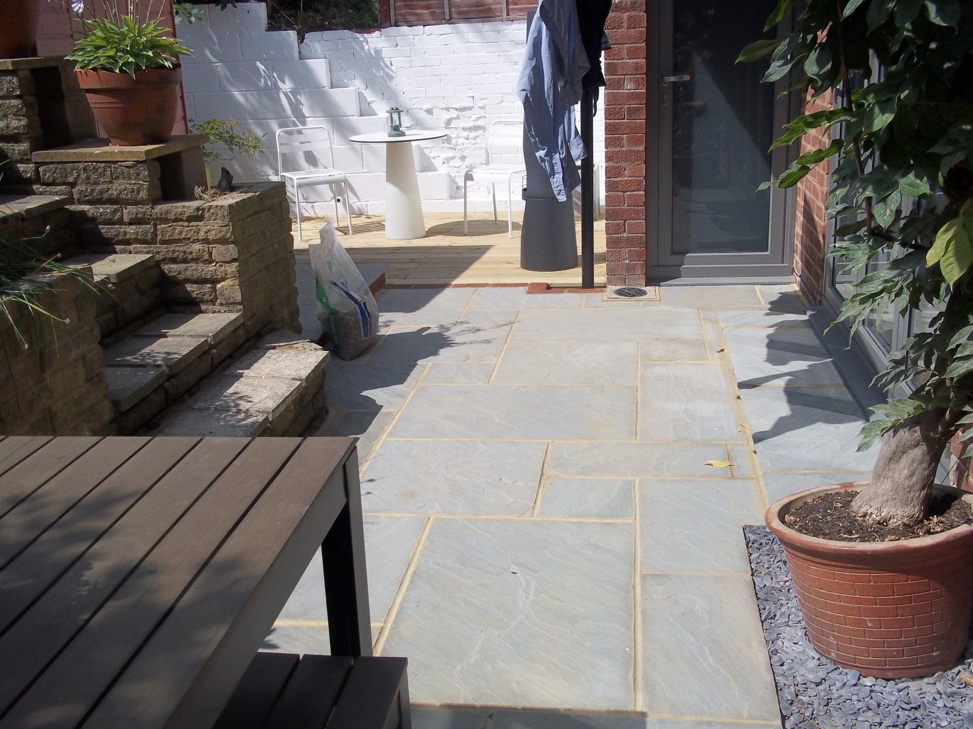 Patio and decking area.