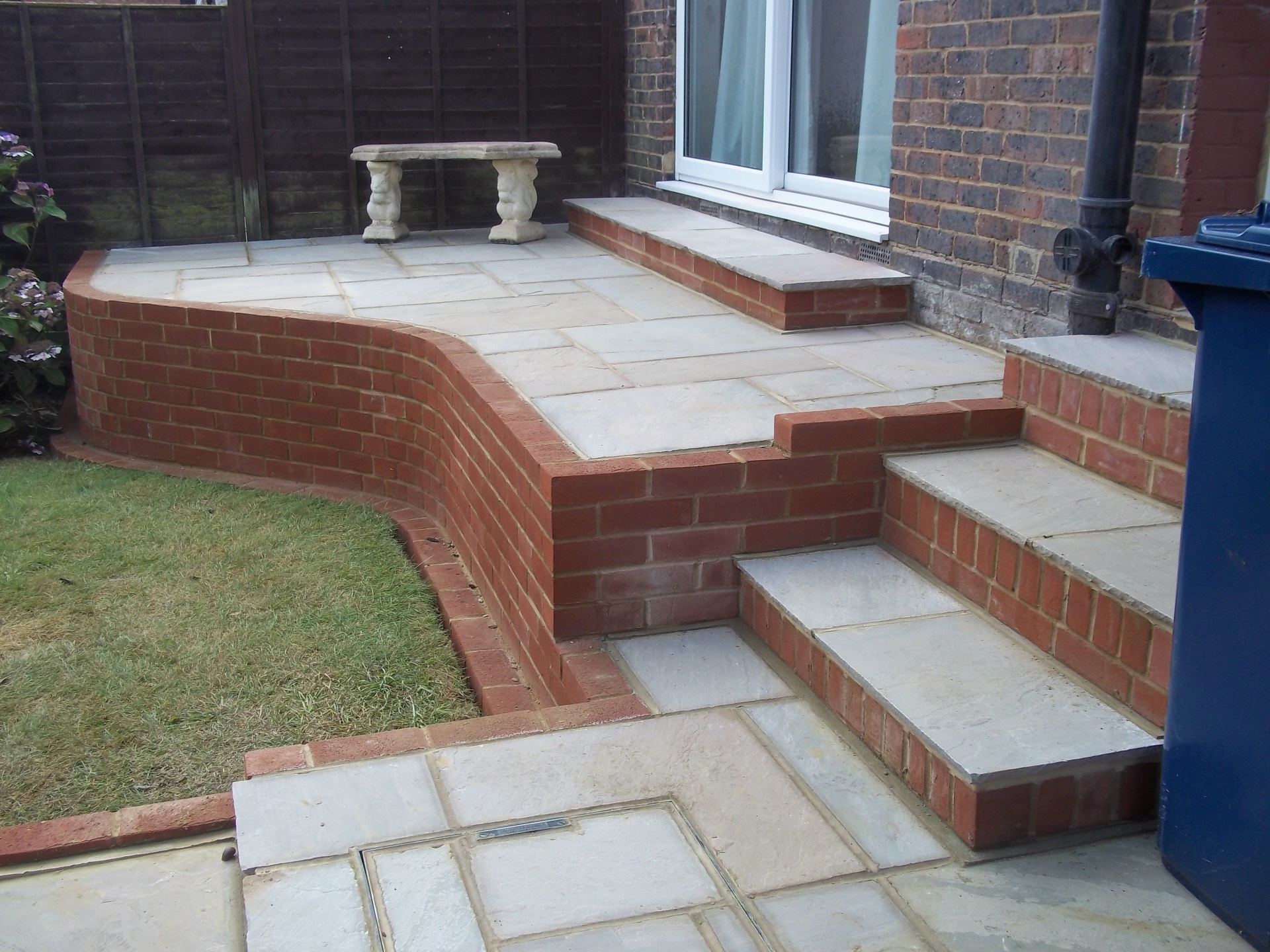 Raised patio & steps.