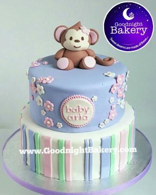 Lil' Monkey Baby Shower Cake