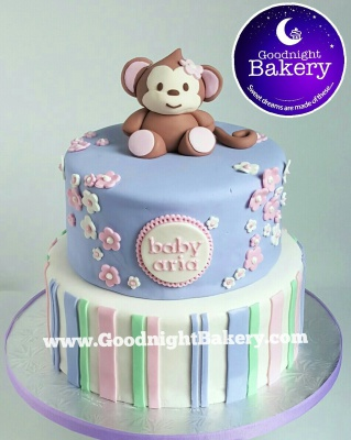 Lil' Monkey Baby Shower Cake