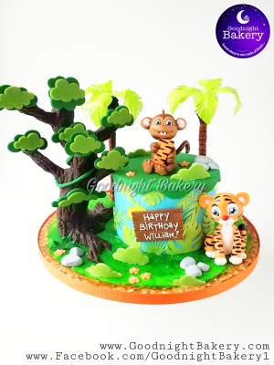 Tiger - Monkey Jungle Cake
